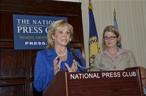Oklahoma Gov.Mary Fallin (R), chair of the National Governors Association, answers a question during a National Press Club Luncheon while NPC President Angela Greiling Keane waits, Sept. 17, 2013