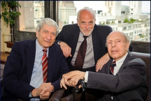 Marvin Kalb, host of the Club's The Kalb Report (left) with Michael Freedman, the show's executive producer, (top) and Richard C. Hottelet, the last surviving member of the team Edward R. Murrow put together to cover World War II for CBS, at the 2012  New York Festivals International Radio Awards gala June 18.