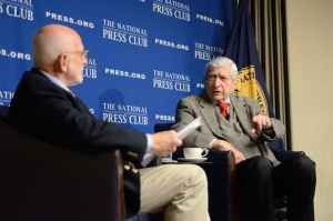 Marvin Kalb (right) and National Press Club Board of Governors member Michael Freedman.