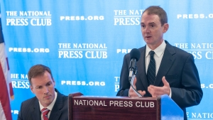 "Attorney Steve Shannon (seated) joined fellow attorney Chris Leibig at a National Press Club Newsmaker to discuss ""GPS Tracking and Fourth Amendmendment Rights,"" Oct. 18, 2012"