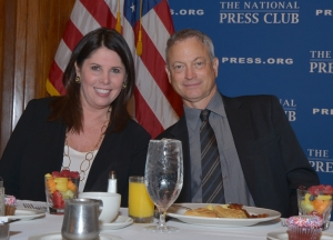 Melissa Charbonneau, organizer of the  event, joins Gary Sinise at the June 16 breakfast.