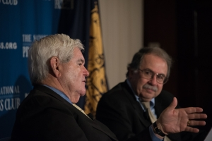 Former House Speaker Newt Gingrich ,left, makes a point at June 16 National Press Club Headliners Book Rap as Jonathan Salant, former Club president and moderator of the event, listens.