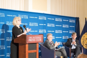 "National Press Club Journalism Institute President Barbara Cochran introduces Washington Post Executive Editor Martin Baron (center) and author and former Guardian Editor Alan Rusbridger at a Dec. 7 National Press Club luncheon.  Rusbridger, who helped bring to light the revelations of NSA Whistleblower Edward Snowden discussed his book, ""Breaking News: The Remaking of Journalism and Why it Matters Now."""