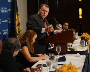 James P. Hoffa, President of the International Brotherhood of Teamsters, speaks  to the NPC of his support for the Democratic Party.