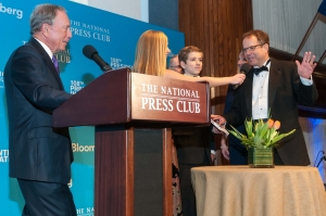 Michael Bloomberg (left) inaugurates John K. Hughes (Right) as the 108th president of the National Press Club, Jan. 24, 2015.