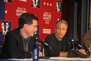 "Jon Stewart and Stephen Colbert address the media at a National Press Club news conference immediately following their ""Rally to Restore Sanity and/or Fear"" on the National Mall."