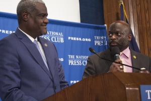 Moussa Faki, African Union Commission chairperson, takes questions from NPC President Jeff Ballou.