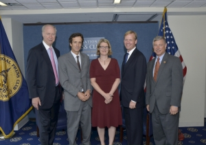 NPC President Angela Greiling Keane (center) with, from left, David Gergen, Hal Bernton, John Dickerson and Rep. Fred Upton at Gerald Ford Journalism Awards luncheon June 3.