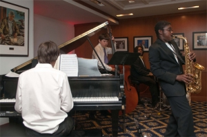 Members of the Blues Alley Youth Orchestra entertain guests at the Fourth Estate Restaurant's Jazz Night.