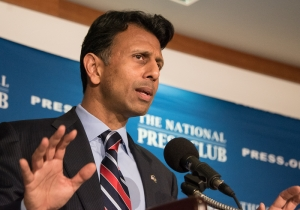 Republican presidential candidate Bobby Jindal, governor of Louisiana, attacks the Obama Administration's proposed nuclear agreement with Iran at a National Press Club Newsmaker, Sept, 10, 2015.