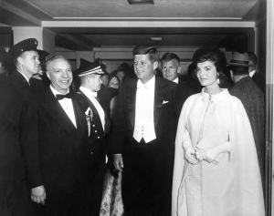 President John F. Kennedy and First Lady Jacqueline Kennedy arrive at their inaugural ball, Jan. 20, 1961.