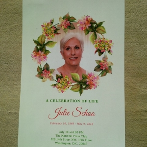 The program for a memorial service remembering Julie Schoo.