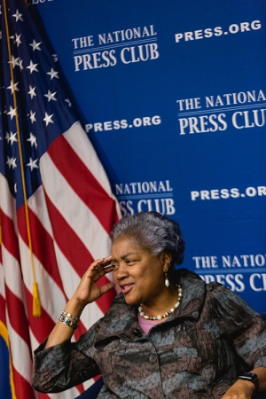"""Donna Brazile, former chair of the Democratic National Committee and longtime Democratic Party strategist, speaks at a National Press Club Headliners Book Rap on Tuesday, Dec. 12, 2017, featuring her book """"Hacks: The Inside Story of the Break-ins and Breakdowns That Put Donald Trump in the White House."""""""