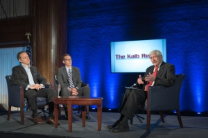 Jake Tapper of CNN, left, and David Fahrenthold of the Washington Post, center, appear with Marvin Kalb on a Saturday edition of the Kalb Report at the National Press Club on April  8, 2017