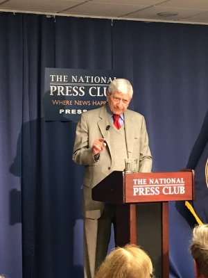 Marvin Kalb speaks at the National Press Club on March 30, 2017.