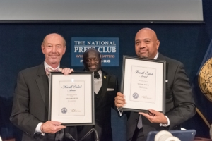 Sports journalists Tony Kornheiser (l) and Michael Wilbon (r) were presented with the National Press Club Fourth Estate  Award at a dinner on Wednesday, Oct. 4. Club President Jeff Ballou (c)  bestowed the Club's highest annual honor.