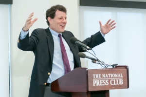 "New York Times columnist Nicholas Kristof differentiated between ""silver bullet"" and ""silver buckshot"" solutions to social problems at a Sept. 29 National Press Club Book Rap."