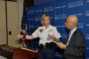 Cathy Lanier, Washington, D.C., chief of police, answers a question from Tejinder Singh of the National Press Club Newsmakers Committee at an event on April 10, 2013.