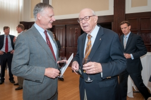 Don Larrabee (right) chats with Ken Dalecki at the Gerald R. Ford Awards luncheon in 2012.