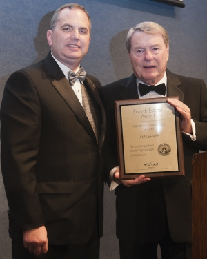 Congratulations to Jim Lehrer (r), winner of this year's Fourth Estate Award presented by Mark Hamrick at the National Press Club on Oct. 28.