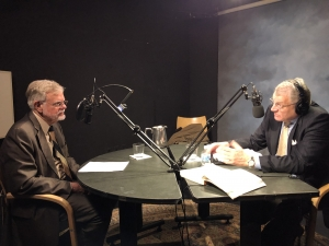 """George Washington University professor Henry Nau (r) discusses his book, """"Perspectives on International Relations,"""" with National Press Club Broadcast/Podcast Team member Lincoln Smith in the latest edition of the Club's podcast, Update-1."""