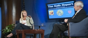 CBS correspondent Lara Logan talks with Kalb Report host Marvin Kalb on Monday, Nov. 7.