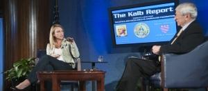 CBS correspondent Lara Logan talks with Kalb Report host Marvin Kalb on Monday, Nov. 7.