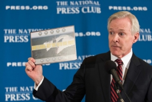 Navy Secretary Ray Mabus illustrates ship technology.