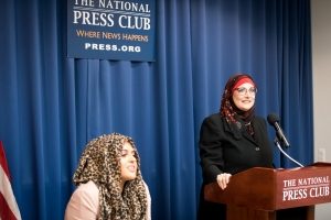 Al-Khatahtbeh (sitting), author of Muslim Girl: A Coming of Age, is introduced by Kristin Szremski at a National Press Club Book Rap on Jan. 18, 2017