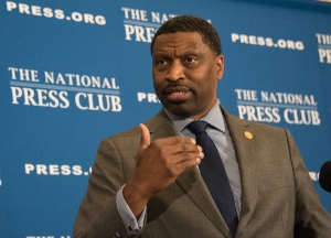 Derrick Johnson, interim president of the NAACP, told an Aug. 29, 2017, National Press Club Headliners Luncheon that the Trump administration created the atmosphere that led to a deadly white sumpremacist rally in Charlottesville, Va., earlier in the month.