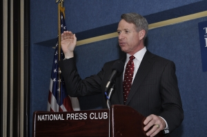 Kirk Lippold, former commander of the USS Cole, speaks at the National Press Club on July 10, 2012