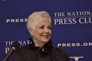 "Shirley Jones reacts to audience questions about her lengthy career in legendary movies and stage productions such as ""The Music Man, "" Oklahoma"", and ""Carousel"" at a book signing at the National Press Club, July 27, 2013."