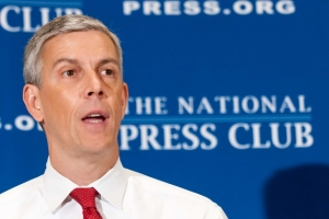 Education Secretary Arne Duncan called for redirecting funds for prisons to teacher salaries at a Sept. 30 National Press Club luncheon.