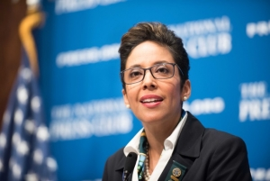 Anna Maria Chávez, chief executive of the Girl Scouts of the USA, called for greater investments in young women at a June 13 National Press Club luncheon.
