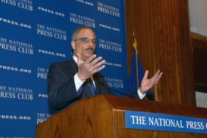 Attorney General Eric Holder touted the reduction in charges for non-violent drug offenses that have allowed federal prosectors to focus on more serious offenders, during a Feb. 17 National Press Club luncheon speech.