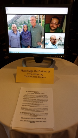 The National Press Club has set up a Jason Station in the lobby to encourage members and visitors to sign a petition to free Washington Post journalist Jason Rezaian, who has been jailed in Iran since July.