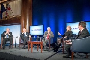 Marvin Kalb (center) hosts (left to right) Mike McCurry, Frank Fahrenkopf, Martha Raddatz and Chris Wallace for a discussion about moderating the presidential debates at a Dec. 5 taping of The Kalb Report at the National Press Club.