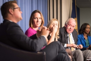 A panel of journalists and political operatives analyzed coverage of the election at a Dec. 1 National Press Club event. (L-R) CNN's Chris Moody, Republican National Committee spokeswoman Lindsay Walters, Washington Post media critic Margaret Sullivan, former White House spokesman Mike McCurry and Washington Post reporter Abby Phillip.