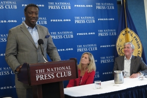 Chris Daniels spoke about how the Tragedy Assistance Program for Survivors (TAPS) helped him deal with his son's suicide at the National Press Club. He was joined by Kim Rucco, chief external relations officer for suicide prevention at TAPS, and Gregory Reuss, a retired Marine Corps colonel.