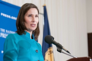 Deborah Hersman, outgoing chairman of the National Transportation Safety Board, delivers farewell address at a National Press Club Breakfast, April 21, 2014.