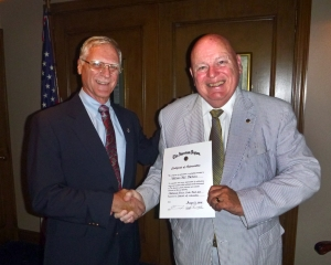 NPC Legionnaire William Watson (R) receives certificate of appreciation from Post 20 Commander Ken Dalecki.