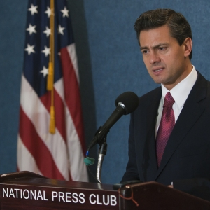 Enrique Pena Nieto discusses trade, security, immigration and economic relations at a National Press Club Newsmaker November 15, 2011.  Mr. Nieto is the leading candidate for the Mexican presidency in 2012.