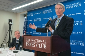 Sen. Rob Portman (r), R-Ohio, a member of the Senate Finance and Budget committees, and Rep., Chris Van Hollen, D-Md., ranking member of the House Budget Committee, said that military intervention in Iraq could break a congressional budget agreement at a June 17 Newsmamker press conference.
