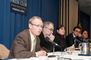 John Donnelly (left), chair of the NPC's Freedom of the Press Committee, moderates a panel examining the crackdown of press freedom in Turkey at the National Press Club on Jan. 27, 2015.  Also participating on the panel are Kemal Kirisci, Turkish Industry and Business Association's senior fellow at the  Brookings Institution; Delphine Halgand, U.S. director for Reporters Without Borders; Tolga Tanis, Washington Correspondent for Hurriyet; and Sevgi Akarcesme, columnist for Zaman Daily.