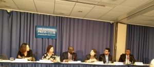 Participants in a National Press Club Panel on World Press Freedom Day, May 3, included (l-r) Sharon Moshavi, ICFJ, Jennifer Hyman, International Women's Forum, Jeff Ballou, National Press Club President, Delphine Halgand, Reporters Without Borders, Sherif Mansour, Committee to Protect Journalists, John Yearwood, International Press Institute.