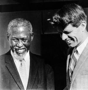 Robert F. Kennedy met with Nobel Peace Prize winner Albert Luthuli,  a teacher,  activist and president of the African National Congress living under house arrest.