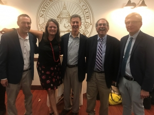 Five former Regional Reporters Association presidents who also were National Press Club presidents attended the Aug. 1 event sponsored by the RRA and the National Press Club Journalism Institute: (l-r) Tommy Burr, Tammy Lytle, Larry Lipman, Jonathan Salant and Jerry Zremski.