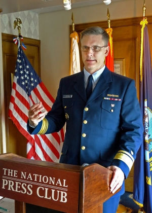 Rear Admiral Peter Gautier, director of governmental and public affairs for the U.S. Coast Guard, spoke at a meeting of the National Press Club American Legion Post 20 on Jan. 30, 2018.