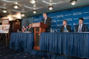 Washington Post Executive Editor Martin Baron calls on Iranian authorities to release reporter Jason Rezaian at a National Press Club news conference, July 22, 2015.  Baron was joined at the dais by Jason's brother Ali Rezaian (left) Vice President and General Counsel and Labor Jay Kennedy (center right) and David Bowker, a partner at Wilmer Hale.