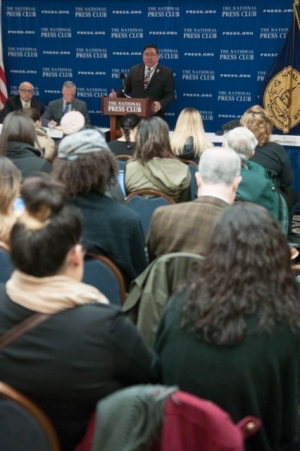 Lawrence G. Romo, director of the United States Selective Service System, discusses latest rules for including all people within the United States into the Selective Service System at a National Press Club Newsmakers on Jan. 29, 2016.